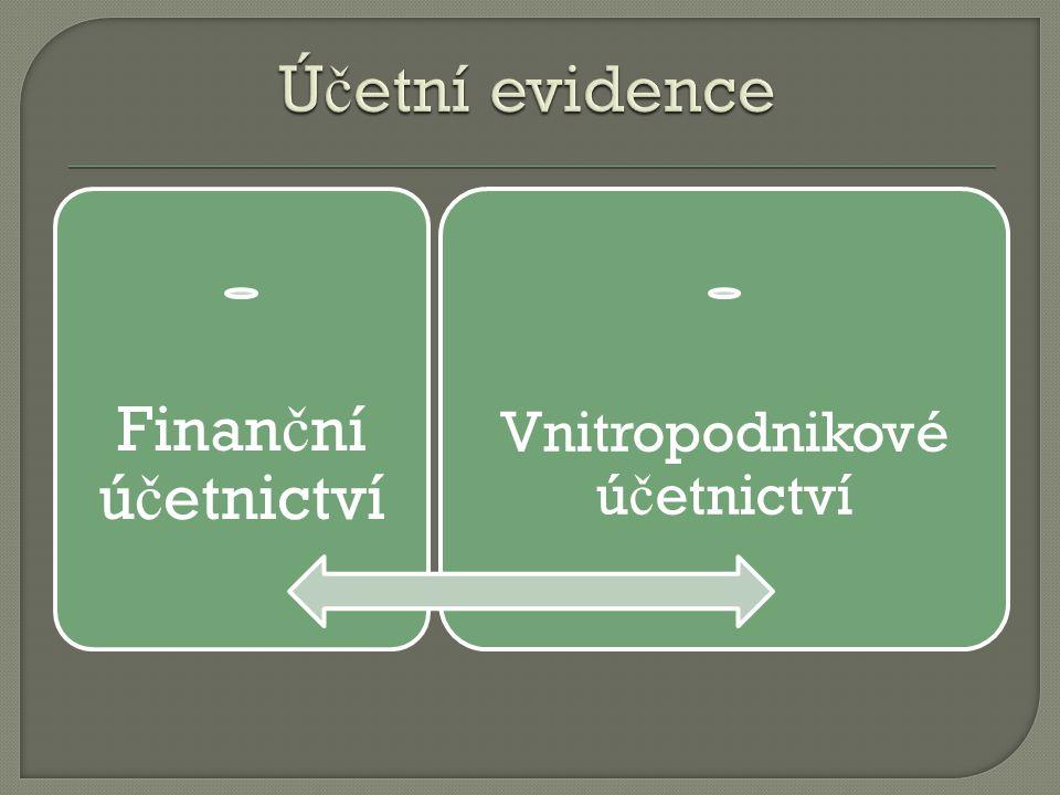 Finan č ní ú č etnictví Vnitropodnikové ú č etnictví