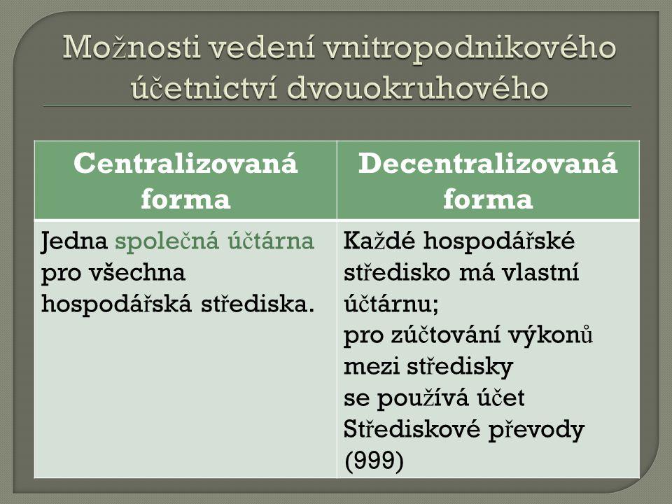 Centralizovaná forma Decentralizovaná forma Jedna spole č ná ú č tárna pro všechna hospodá ř ská st ř ediska.