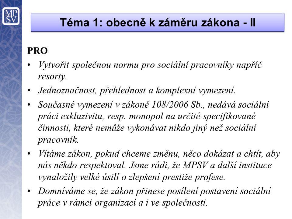 Téma 1: obecně k záměru zákona - II PRO •Vytvořit společnou normu pro sociální pracovníky napříč resorty. •Jednoznačnost, přehlednost a komplexní vyme