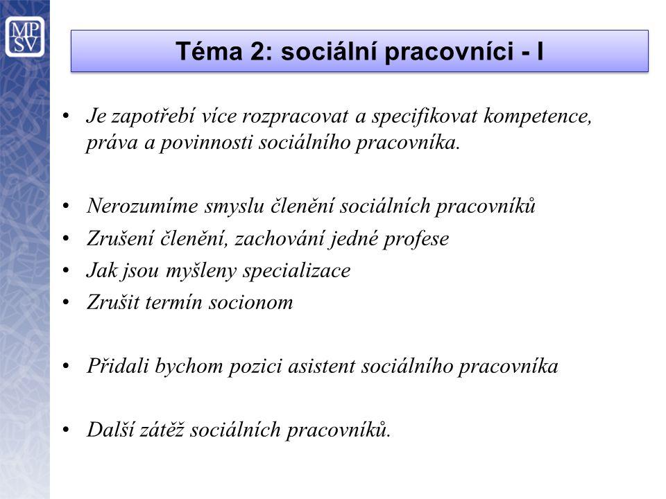 Téma 2: sociální pracovníci - I •Je zapotřebí více rozpracovat a specifikovat kompetence, práva a povinnosti sociálního pracovníka. •Nerozumíme smyslu
