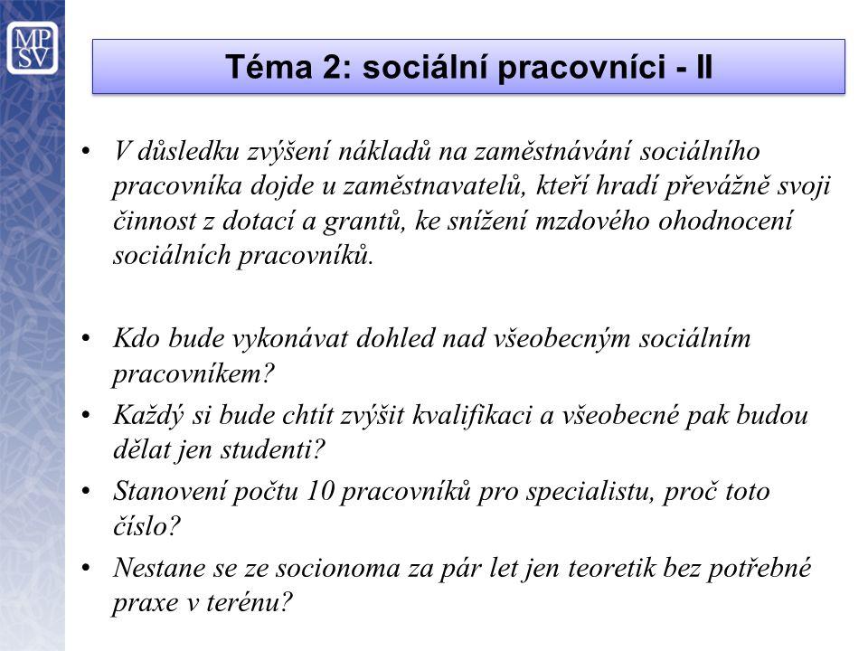 Téma 2: sociální pracovníci - II •V důsledku zvýšení nákladů na zaměstnávání sociálního pracovníka dojde u zaměstnavatelů, kteří hradí převážně svoji