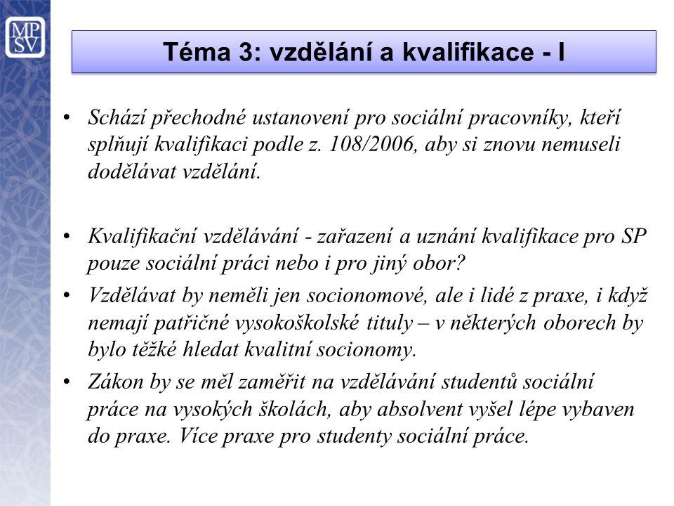 Téma 3: vzdělání a kvalifikace - I •Schází přechodné ustanovení pro sociální pracovníky, kteří splňují kvalifikaci podle z. 108/2006, aby si znovu nem