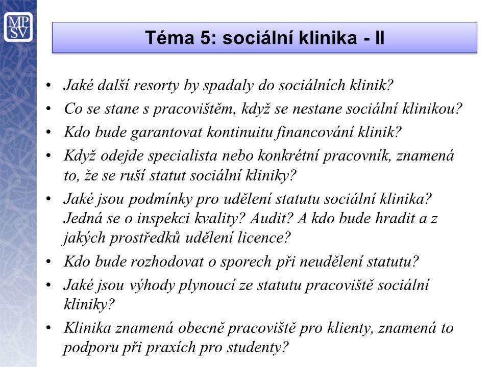 Téma 5: sociální klinika - II •Jaké další resorty by spadaly do sociálních klinik? •Co se stane s pracovištěm, když se nestane sociální klinikou? •Kdo
