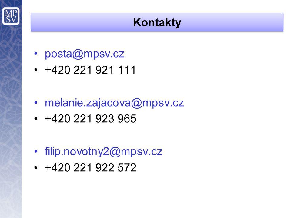Kontakty •posta@mpsv.cz •+420 221 921 111 •melanie.zajacova@mpsv.cz •+420 221 923 965 •filip.novotny2@mpsv.cz •+420 221 922 572