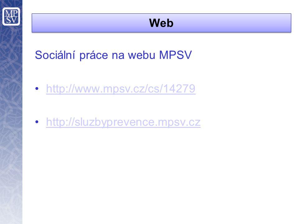 Web Sociální práce na webu MPSV •http://www.mpsv.cz/cs/14279http://www.mpsv.cz/cs/14279 •http://sluzbyprevence.mpsv.czhttp://sluzbyprevence.mpsv.cz