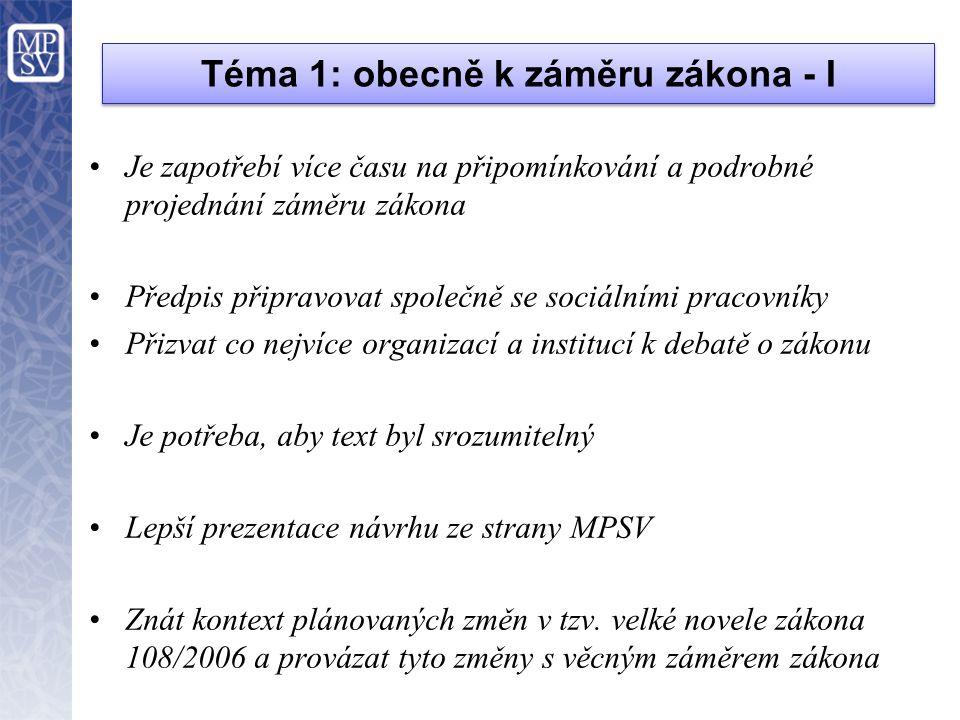 Téma 1: obecně k záměru zákona - II PRO •Vytvořit společnou normu pro sociální pracovníky napříč resorty.