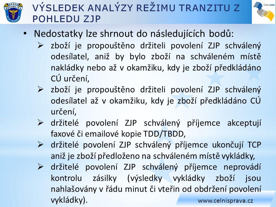 VÝSLEDEK ANALÝZY REŽIMU TRANZITU Z POHLEDU ZJP www.celnisprava.cz • Nedostatky lze shrnout do následujících bodů:  zboží je propouštěno držiteli povo