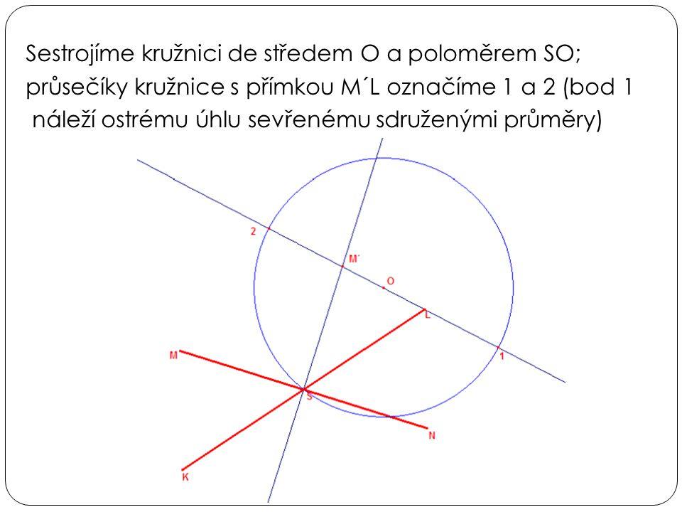 Sestrojíme kružnici de středem O a poloměrem SO; průsečíky kružnice s přímkou M´L označíme 1 a 2 (bod 1 náleží ostrému úhlu sevřenému sdruženými průmě