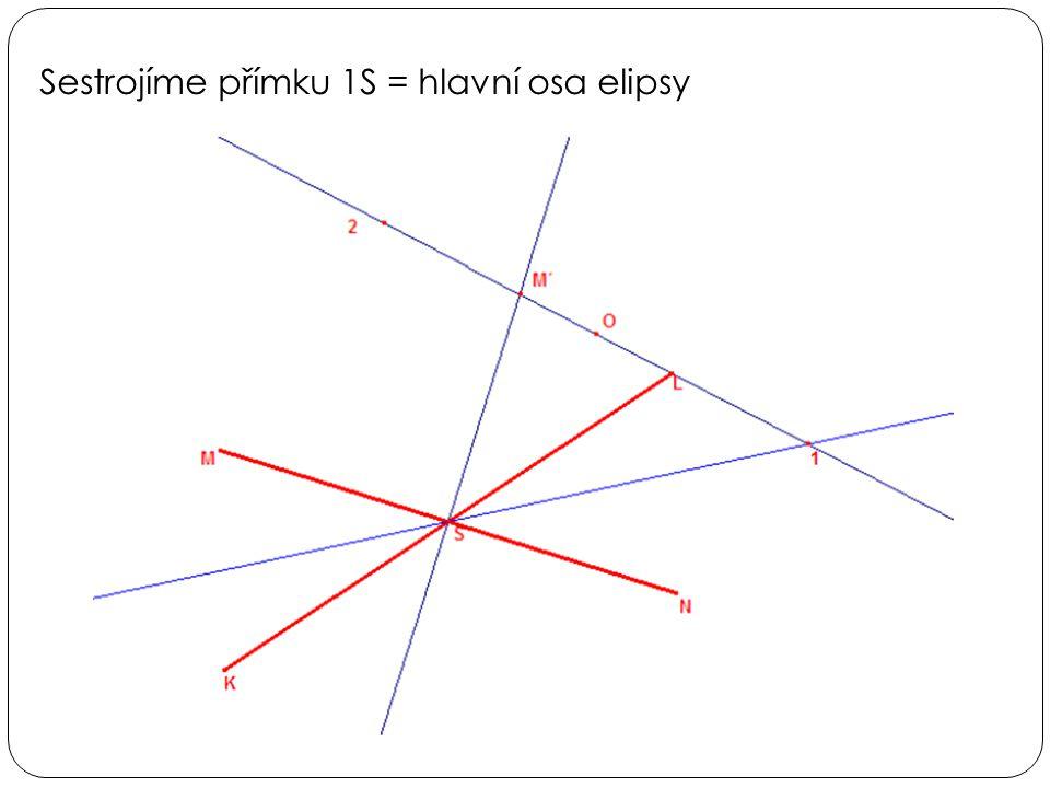 Sestrojíme přímku 1S = hlavní osa elipsy
