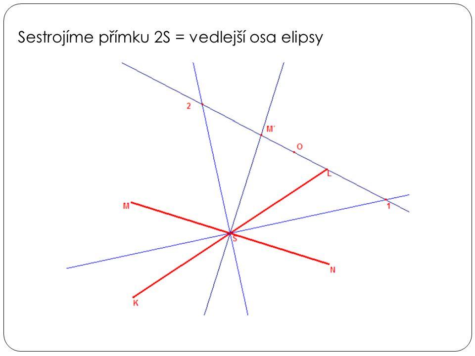 Sestrojíme přímku 2S = vedlejší osa elipsy