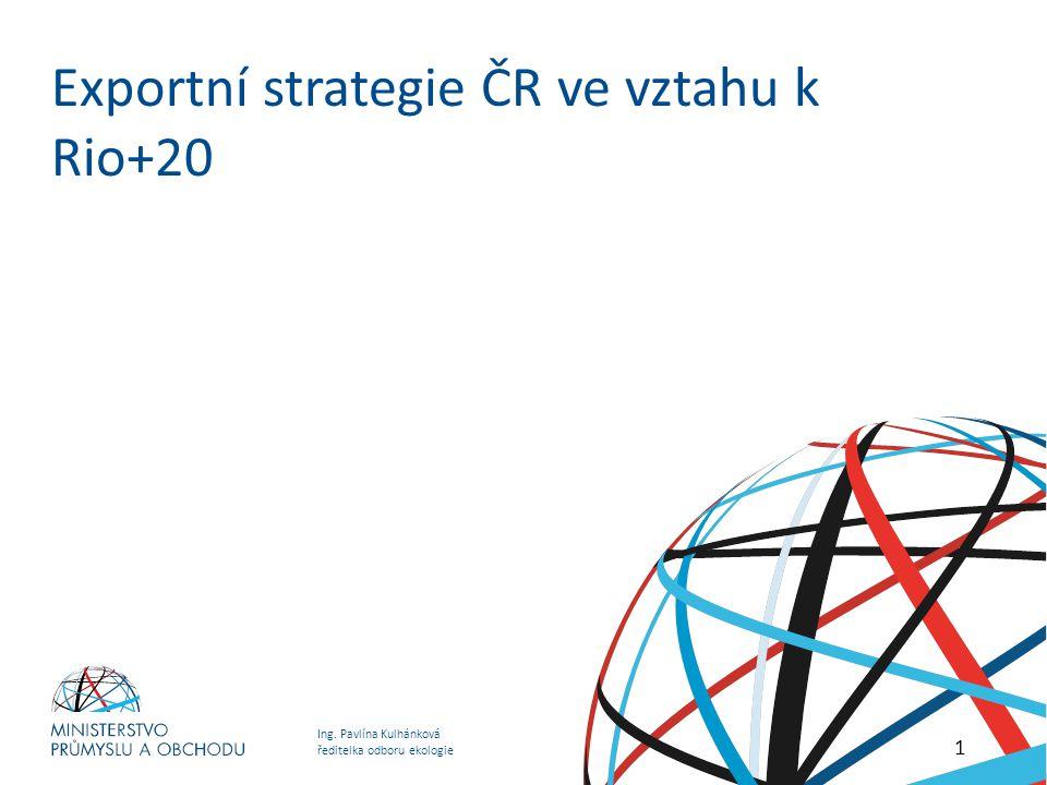 Ing. Pavlína Kulhánková ředitelka odboru ekologie Exportní strategie ČR ve vztahu k Rio+20 1