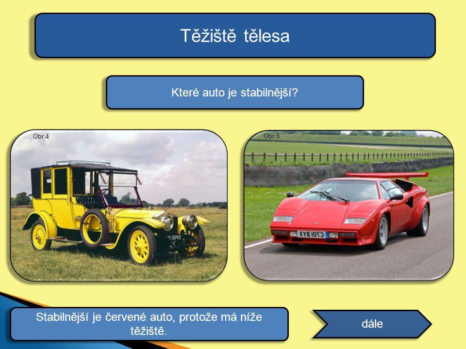 Těžiště tělesa dále Které auto je stabilnější? odpověď Stabilnější je červené auto, protože má níže těžiště. Obr.5 Obr.4