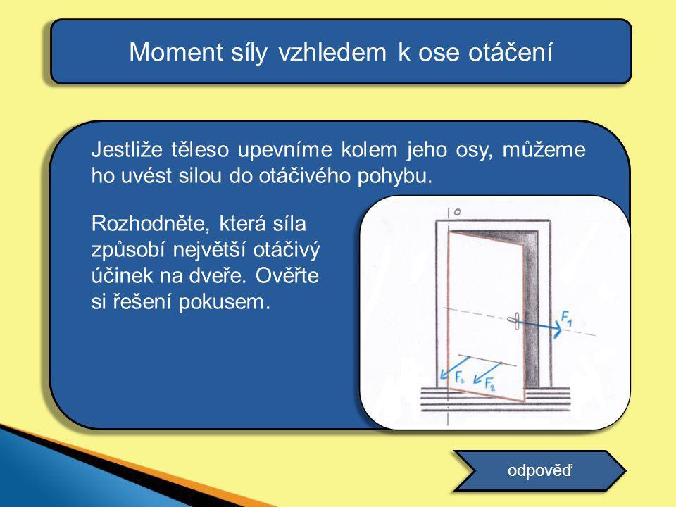 Jestliže těleso upevníme kolem jeho osy, můžeme ho uvést silou do otáčivého pohybu. Rozhodněte, která síla způsobí největší otáčivý účinek na dveře. O