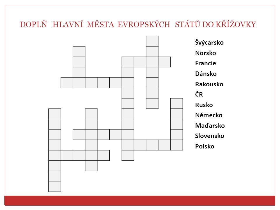 DOPLŇ HLAVNÍ MĚSTA EVROPSKÝCH STÁTŮ DO KŘÍŽOVKY Švýcarsko Norsko Francie Dánsko Rakousko ČR Rusko Německo Maďarsko Slovensko Polsko