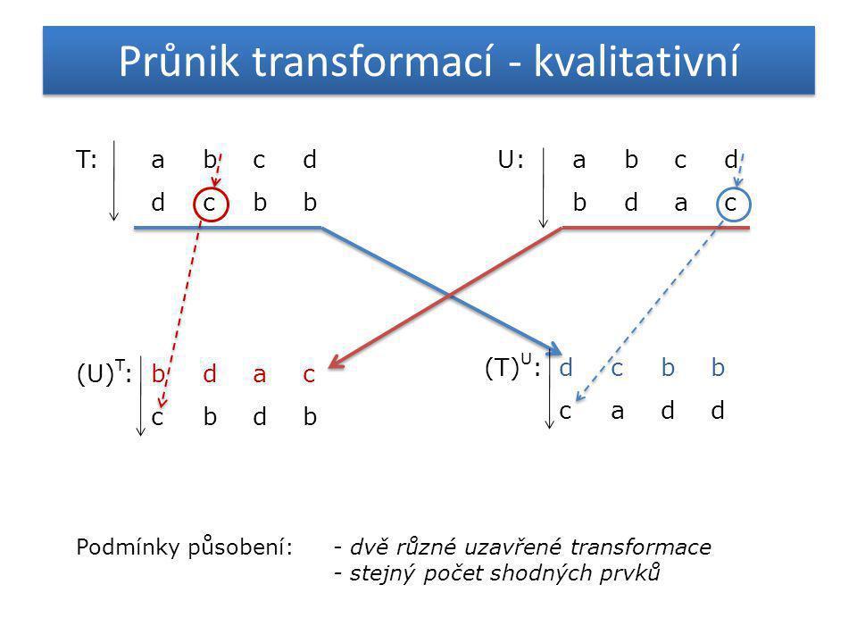Průnik transformací - kvalitativní T:abcd dcbb Podmínky působení:- dvě různé uzavřené transformace - stejný počet shodných prvků U:abcd bdac (U) T :bd