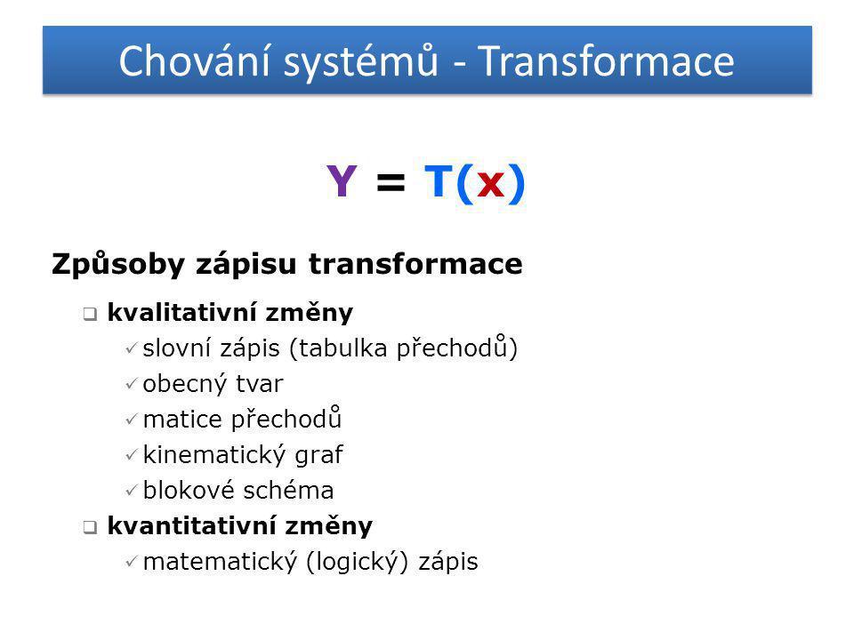 Chování systémů - Transformace Y = T(x) Způsoby zápisu transformace  kvalitativní změny  slovní zápis (tabulka přechodů)  obecný tvar  matice přec