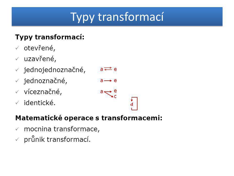 Typy transformací Typy transformací:  otevřené,  uzavřené,  jednojednoznačné,  jednoznačné,  víceznačné,  identické. Matematické operace s trans