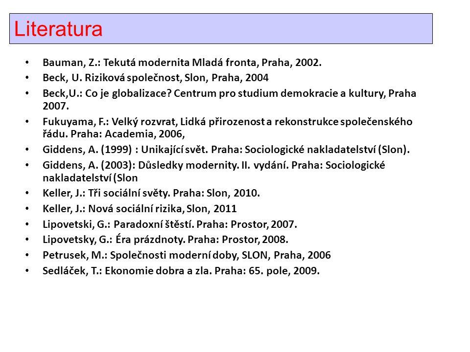 Literatura • Bauman, Z.: Tekutá modernita Mladá fronta, Praha, 2002.