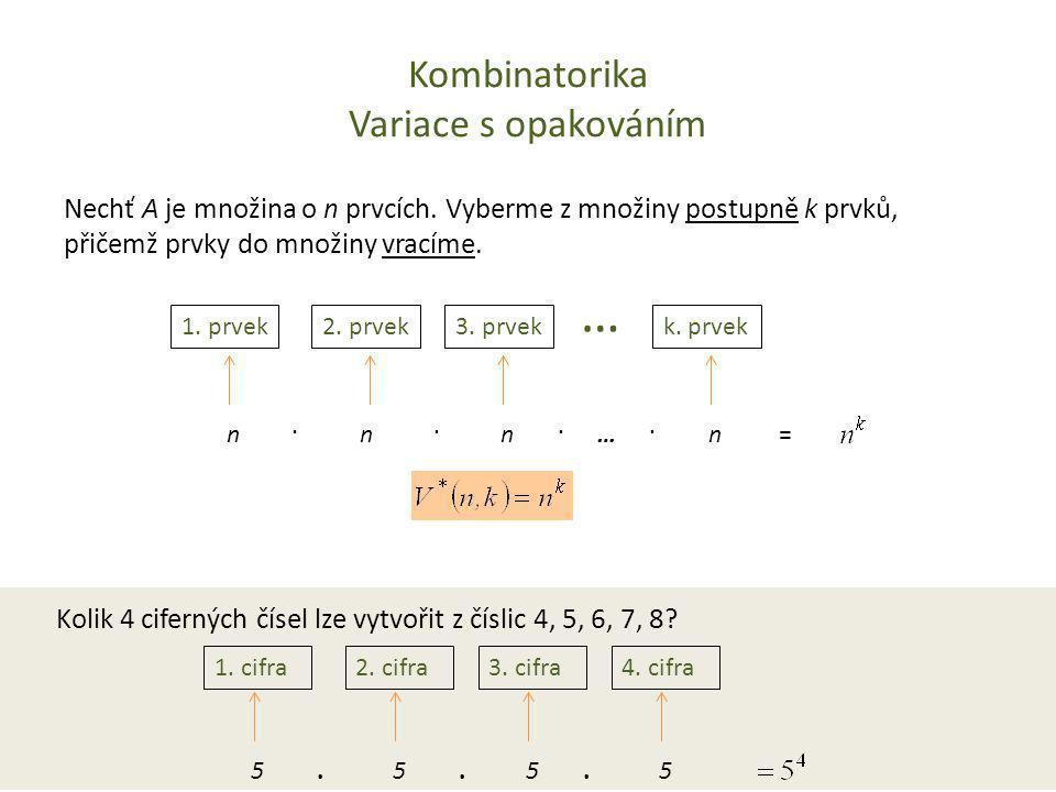 Kombinatorika Variace s opakováním Nechť A je množina o n prvcích. Vyberme z množiny postupně k prvků, přičemž prvky do množiny vracíme. 1. prvek2. pr