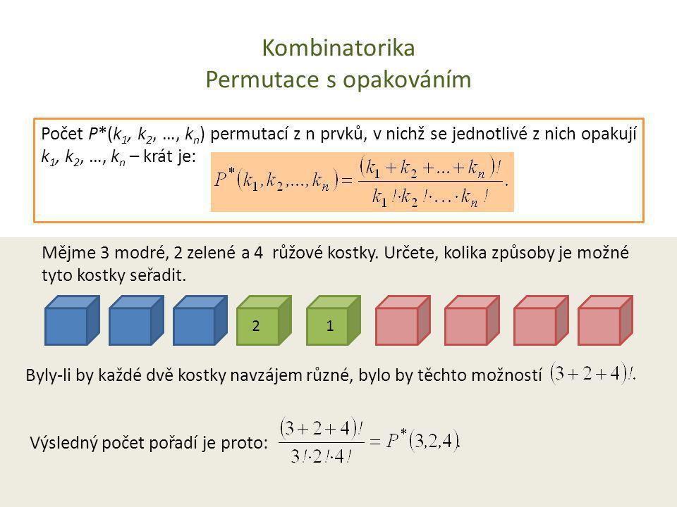 Kombinatorika Permutace s opakováním Počet P*(k 1, k 2, …, k n ) permutací z n prvků, v nichž se jednotlivé z nich opakují k 1, k 2, …, k n – krát je: