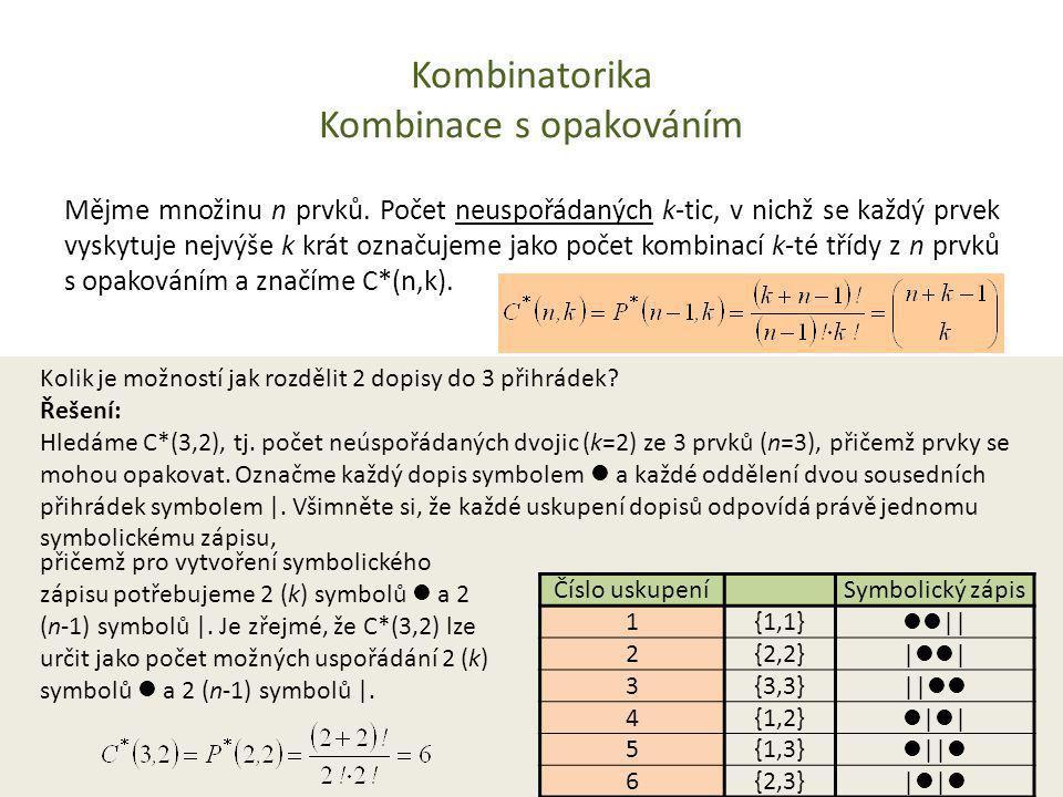 Kombinatorika Kombinace s opakováním Mějme množinu n prvků. Počet neuspořádaných k-tic, v nichž se každý prvek vyskytuje nejvýše k krát označujeme jak