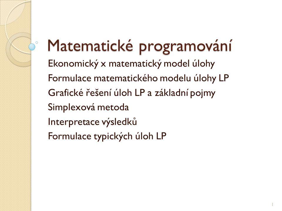 Matematické programování Ekonomický x matematický model úlohy Formulace matematického modelu úlohy LP Grafické řešení úloh LP a základní pojmy Simplex
