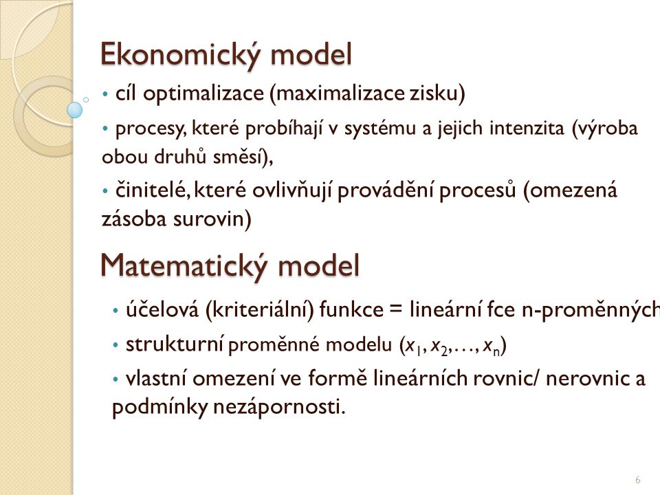 Ekonomický model 6 • cíl optimalizace (maximalizace zisku) • procesy, které probíhají v systému a jejich intenzita (výroba obou druhů směsí), • činite