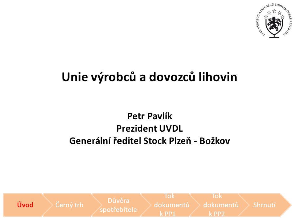 Unie výrobců a dovozců lihovin Petr Pavlík Prezident UVDL Generální ředitel Stock Plzeň - Božkov Shrnutí Tok dokumentů k PP2 Tok dokumentů k PP1 Důvěr