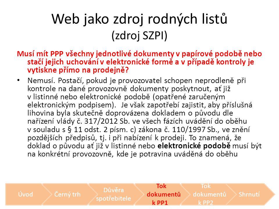 Web jako zdroj rodných listů (zdroj SZPI) Musí mít PPP všechny jednotlivé dokumenty v papírové podobě nebo stačí jejich uchování v elektronické formě