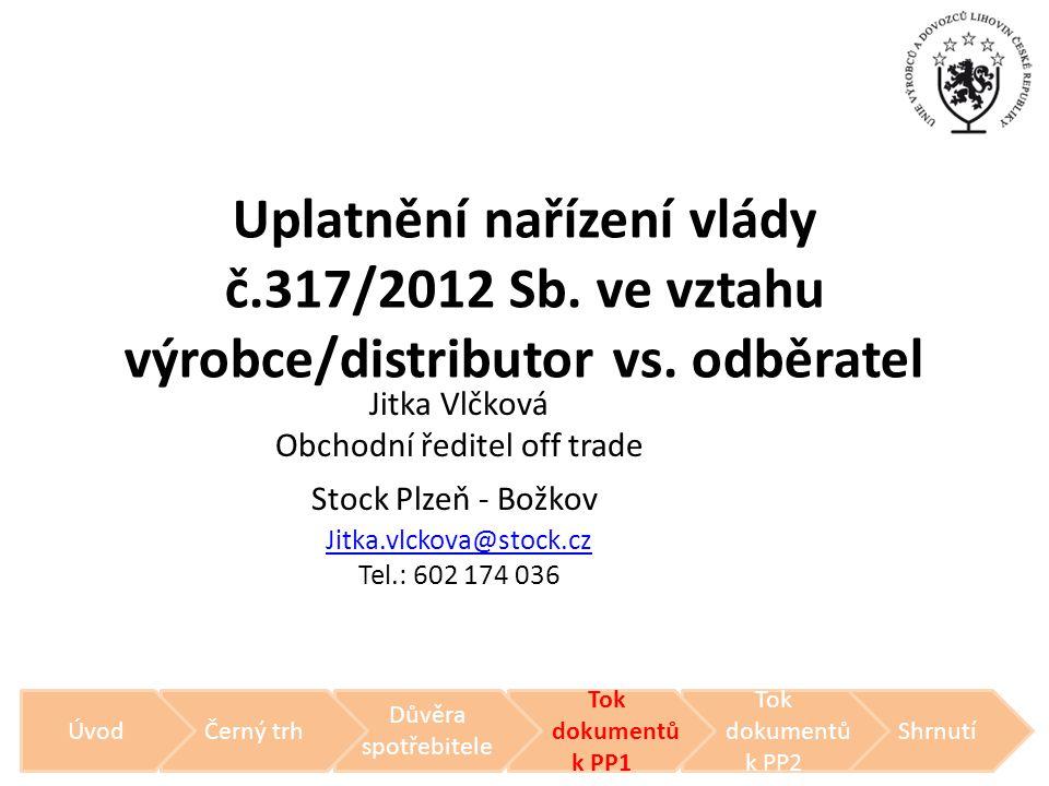 Uplatnění nařízení vlády č.317/2012 Sb. ve vztahu výrobce/distributor vs. odběratel Jitka Vlčková Obchodní ředitel off trade Stock Plzeň - Božkov Jitk