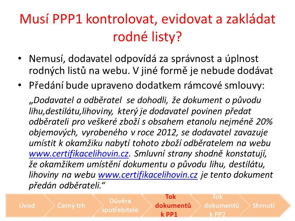 Musí PPP1 kontrolovat, evidovat a zakládat rodné listy? • Nemusí, dodavatel odpovídá za správnost a úplnost rodných listů na webu. V jiné formě je neb