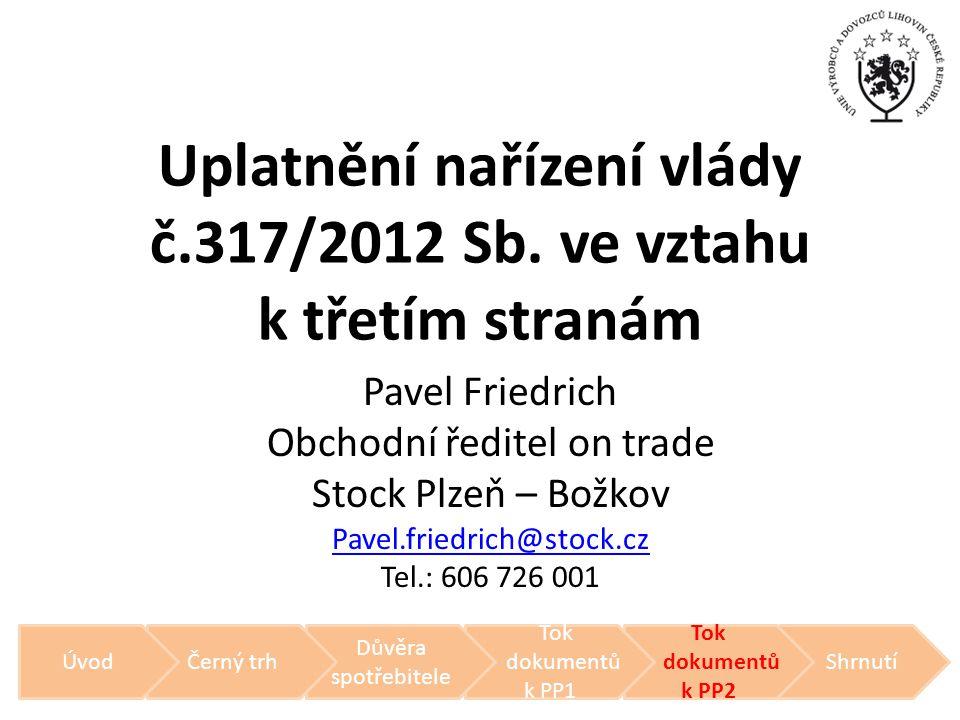 Uplatnění nařízení vlády č.317/2012 Sb. ve vztahu k třetím stranám Pavel Friedrich Obchodní ředitel on trade Stock Plzeň – Božkov Pavel.friedrich@stoc