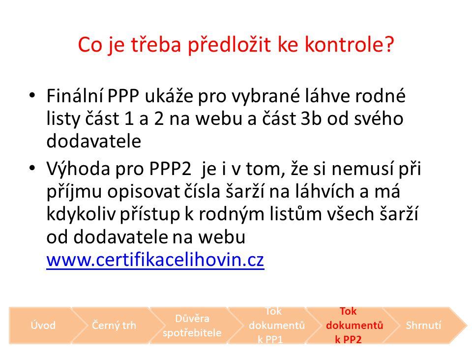 Co je třeba předložit ke kontrole? • Finální PPP ukáže pro vybrané láhve rodné listy část 1 a 2 na webu a část 3b od svého dodavatele • Výhoda pro PPP