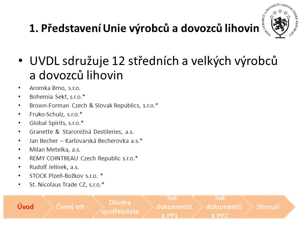 1. Představení Unie výrobců a dovozců lihovin • UVDL sdružuje 12 středních a velkých výrobců a dovozců lihovin • Aromka Brno, s.r.o. • Bohemia Sekt, s