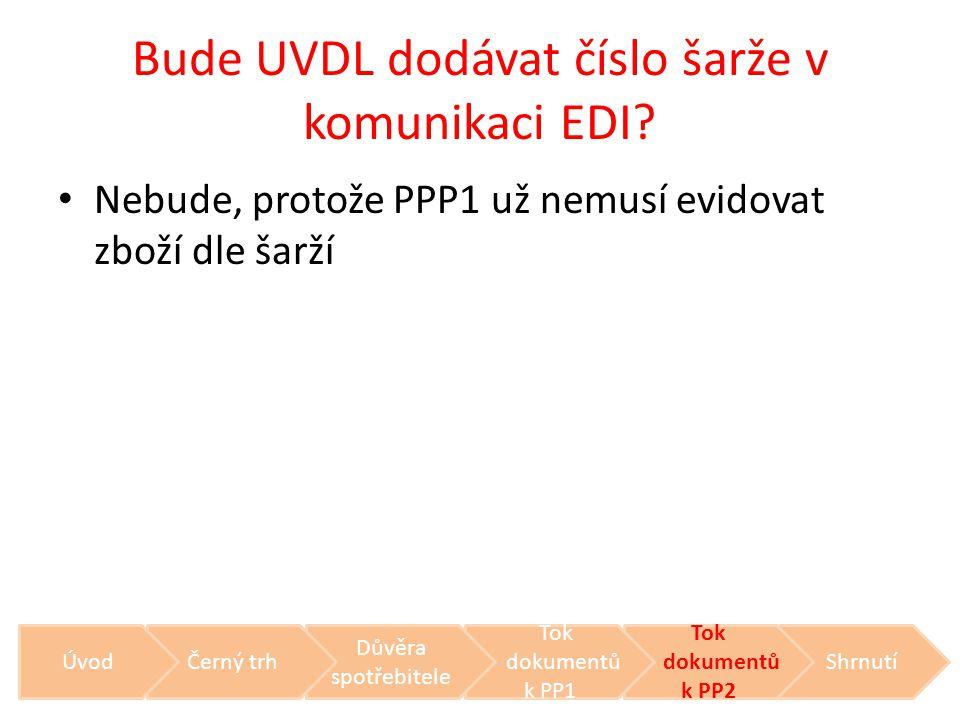 Bude UVDL dodávat číslo šarže v komunikaci EDI? • Nebude, protože PPP1 už nemusí evidovat zboží dle šarží Shrnutí Tok dokumentů k PP2 Tok dokumentů k
