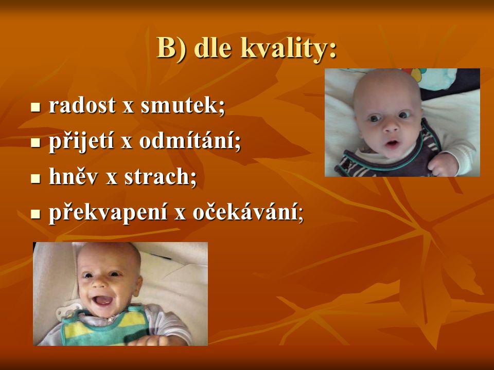 B) dle kvality:  radost x smutek;  přijetí x odmítání;  hněv x strach;  překvapení x očekávání;