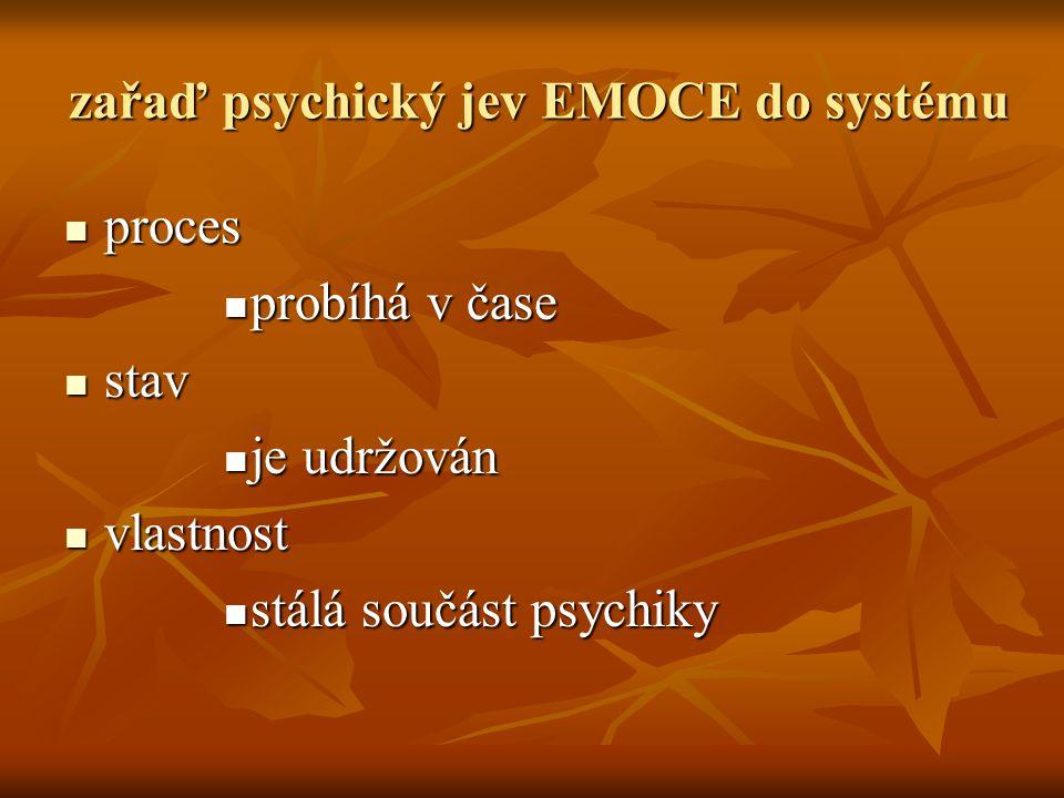 zařaď psychický jev EMOCE do systému  proces  probíhá v čase  stav  je udržován  vlastnost  stálá součást psychiky