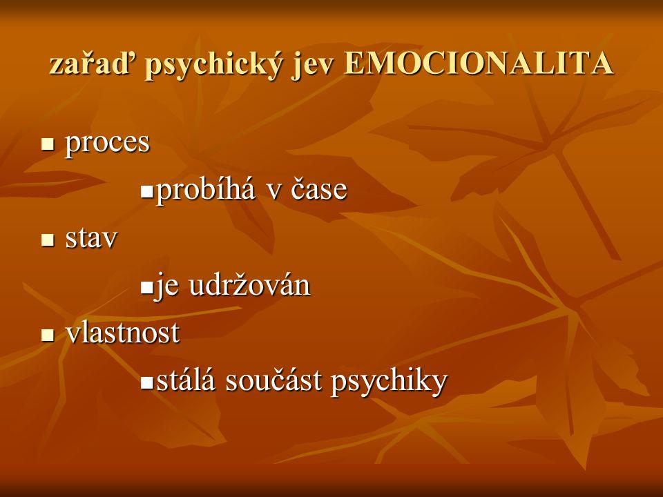 zařaď psychický jev EMOCIONALITA pppproces pppprobíhá v čase sssstav jjjje udržován vvvvlastnost sssstálá součást psychiky