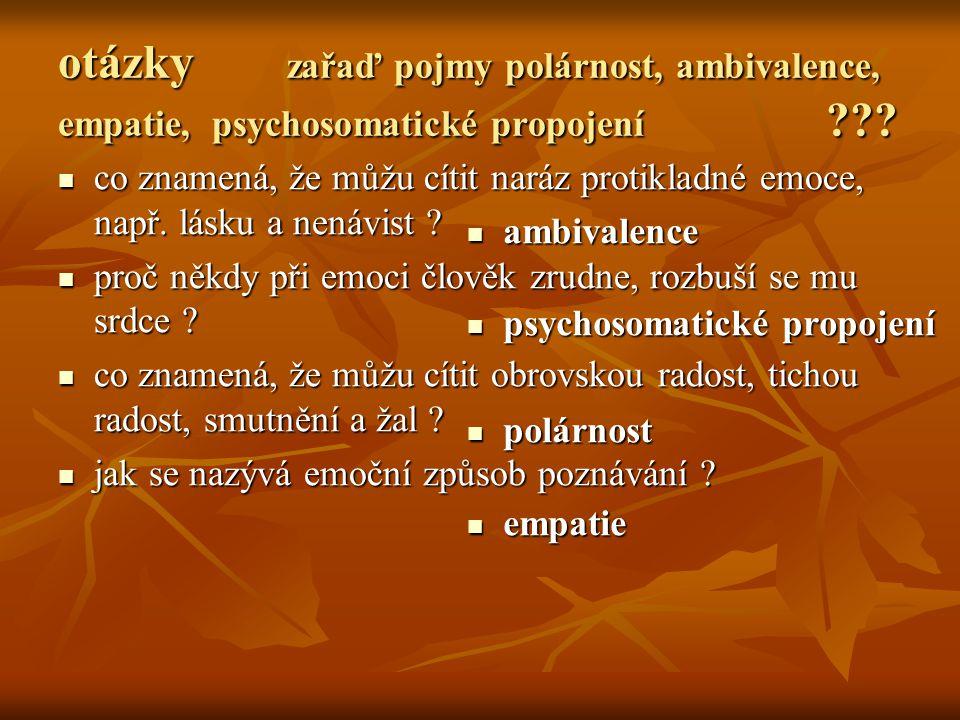 otázky zařaď pojmy polárnost, ambivalence, empatie, psychosomatické propojení ??.