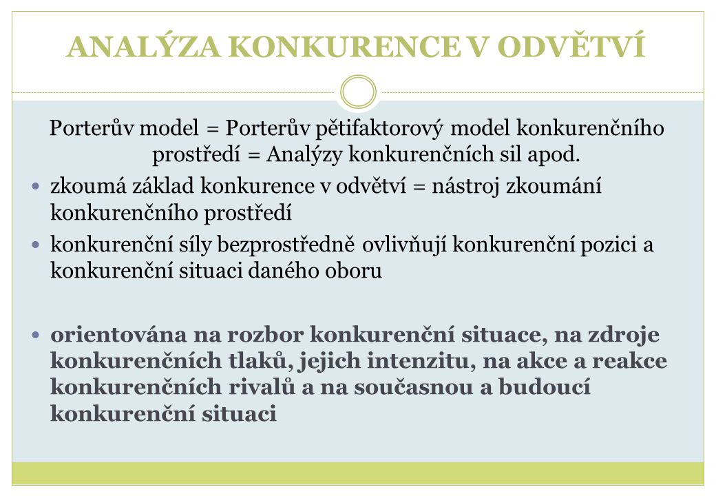 ANALÝZA KONKURENCE V ODVĚTVÍ Porterův model = Porterův pětifaktorový model konkurenčního prostředí = Analýzy konkurenčních sil apod.  zkoumá základ k