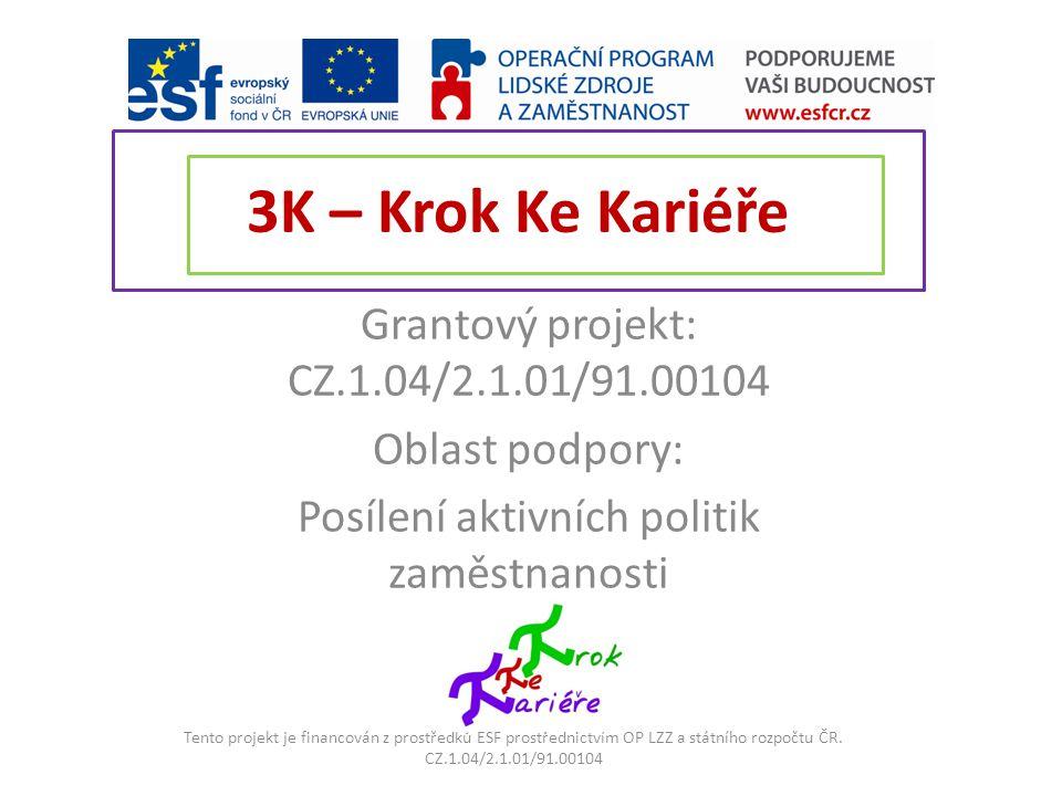 3K – Krok Ke Kariéře Grantový projekt: CZ.1.04/2.1.01/91.00104 Oblast podpory: Posílení aktivních politik zaměstnanosti Tento projekt je financován z