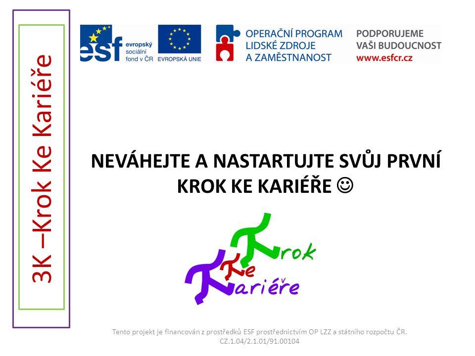 NEVÁHEJTE A NASTARTUJTE SVŮJ PRVNÍ KROK KE KARIÉŘE  Tento projekt je financován z prostředků ESF prostřednictvím OP LZZ a státního rozpočtu ČR. CZ.1.