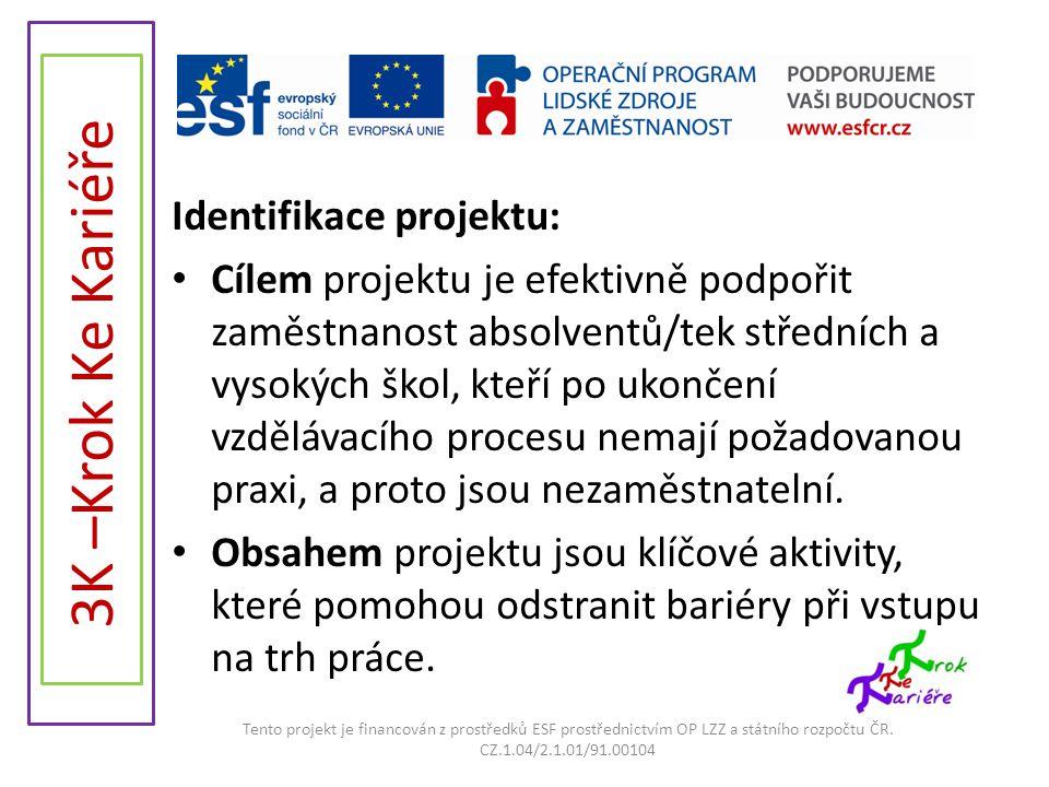 3K –Krok Ke Kariéře Identifikace projektu: • Cílem projektu je efektivně podpořit zaměstnanost absolventů/tek středních a vysokých škol, kteří po ukon