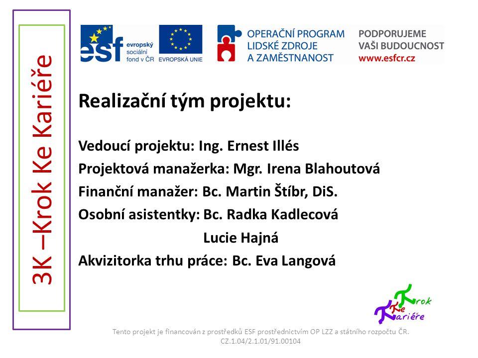 Realizační tým projektu: Vedoucí projektu: Ing. Ernest Illés Projektová manažerka: Mgr. Irena Blahoutová Finanční manažer: Bc. Martin Štíbr, DiS. Osob