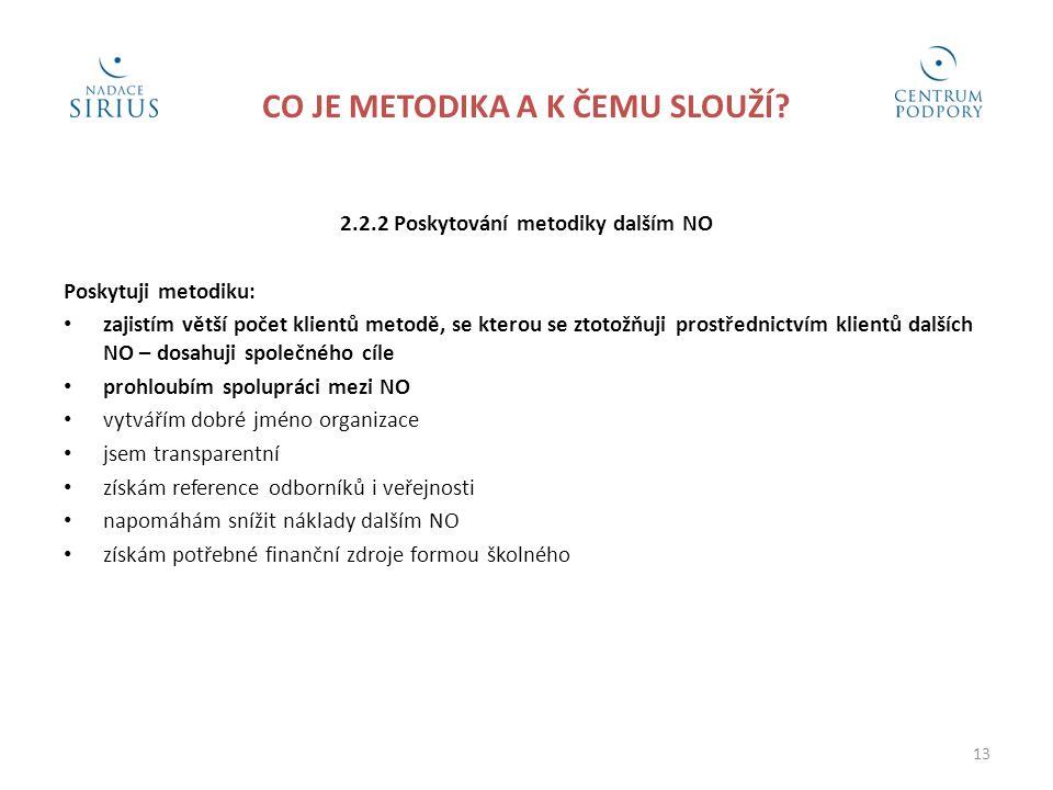 CO JE METODIKA A K ČEMU SLOUŽÍ? 2.2.2 Poskytování metodiky dalším NO Poskytuji metodiku: • zajistím větší počet klientů metodě, se kterou se ztotožňuj