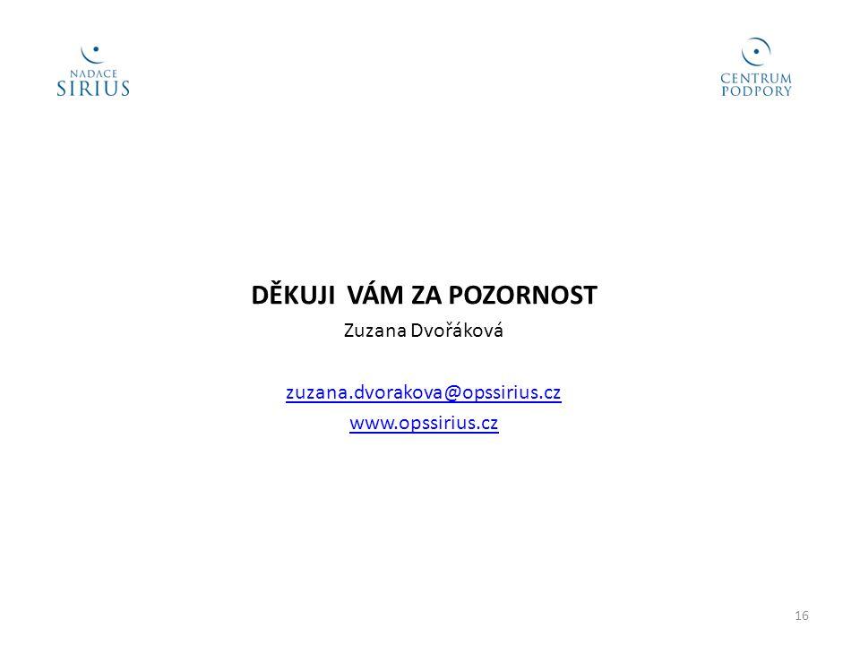 DĚKUJI VÁM ZA POZORNOST Zuzana Dvořáková zuzana.dvorakova@opssirius.cz www.opssirius.cz 16