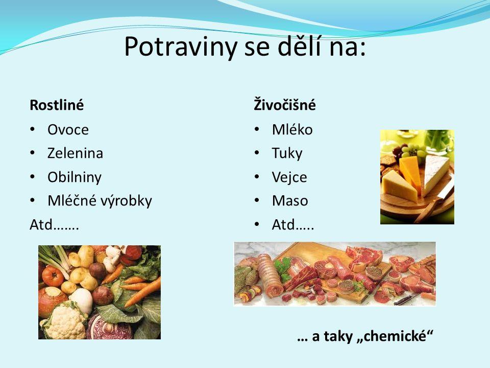 """Potraviny se dělí na: Rostliné • Ovoce • Zelenina • Obilniny • Mléčné výrobky Atd……. Živočišné • Mléko • Tuky • Vejce • Maso • Atd….. … a taky """"chemic"""