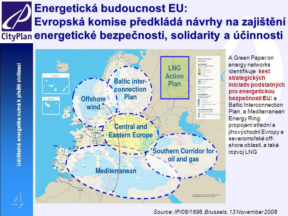 Udržitelná energetika nutná k přežití civilizací 4 Energetická budoucnost EU: Evropská komise předkládá návrhy na zajištění energetické bezpečnosti, s