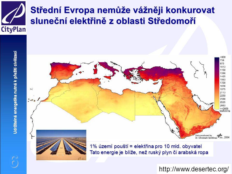 Udržitelná energetika nutná k přežití civilizací 6 Střední Evropa nemůže vážněji konkurovat sluneční elektřině z oblasti Středomoří 1% území pouští =