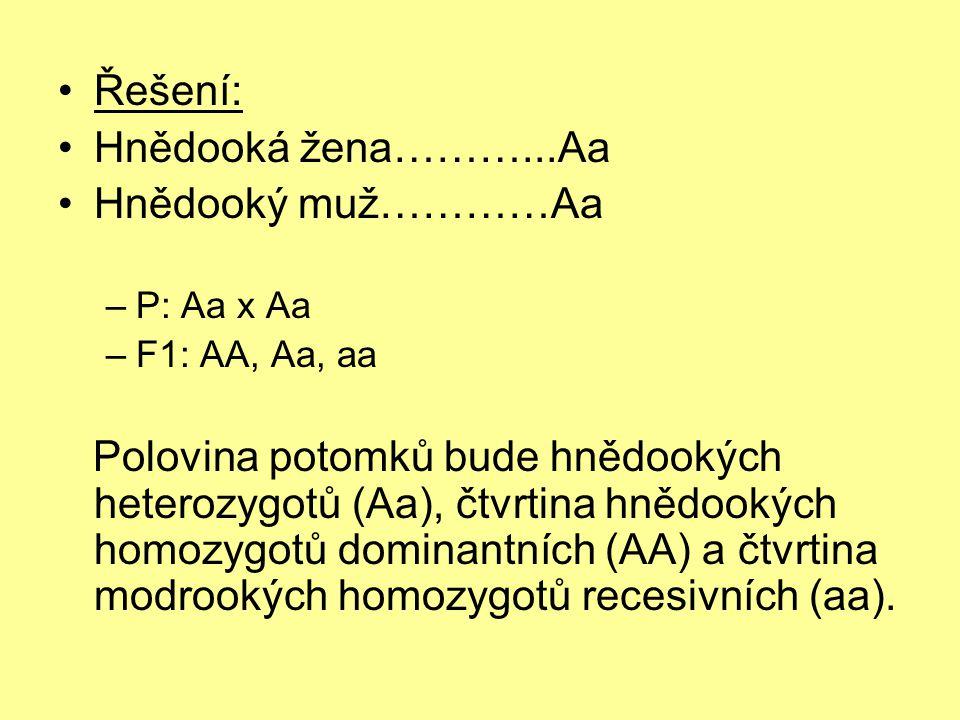 •Řešení: •Hnědooká žena………...Aa •Hnědooký muž…………Aa –P: Aa x Aa –F1: AA, Aa, aa Polovina potomků bude hnědookých heterozygotů (Aa), čtvrtina hnědookýc